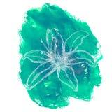 Hand getrokken bloem op waterverfachtergrond Stock Foto