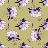 Hand getrokken bloemen naadloos patroon Royalty-vrije Stock Foto