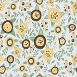 Hand getrokken bloemen naadloos patroon Bruin en Stock Foto