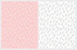 Hand Getrokken Bloemen Vectorpatronen Gevoelig Wit en Gray Twigs op Roze en Witte Achtergronden vector illustratie