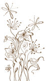 Hand Getrokken bloemenachtergrond Royalty-vrije Stock Fotografie