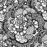 Hand getrokken bloemenbehang Stock Afbeeldingen