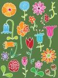 Hand getrokken bloemenelementen Royalty-vrije Stock Afbeelding