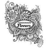 Hand Getrokken Bloemenkader, Vectorillustratie van bloemenkader Zen Tangle Royalty-vrije Stock Afbeeldingen