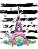 Hand getrokken bloemenliefdekaart, de toren van Eiffel, vector royalty-vrije illustratie