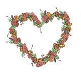 Hand getrokken bloemkroon Stock Afbeeldingen