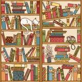Hand getrokken boekenrek met slaapkat royalty-vrije illustratie