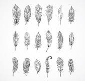 Hand getrokken Boheemse, stammen, etnische reeks veren stock illustratie