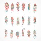 Hand getrokken Boheemse, stammen, etnische veren Kleurrijke Reeks stock illustratie