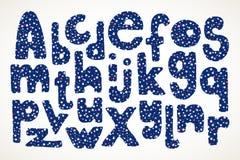 Hand getrokken brieven in Amerikaans sterren en strepenpatroon Stock Afbeeldingen