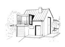 Hand getrokken buitenhuis modern privé woonhuis Zwart-witte schetsillustratie stock illustratie