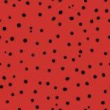 Hand getrokken chaotische punten eindeloze textuur, zwarte cirkels op rood Stock Afbeeldingen