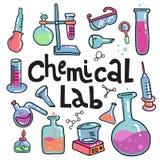 Hand getrokken chemie en wetenschaps geplaatste kleurenpictogrammen Inzameling van laboratoriummateriaal in krabbelstijl Kindchem vector illustratie
