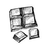 Hand getrokken chocolade Hand getrokken chocoladereep die in stukken wordt gebroken Royalty-vrije Stock Fotografie