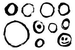 Hand Getrokken Cirkels en Smiley Face royalty-vrije illustratie