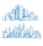 Hand getrokken cityscapes en gebouwen Stock Foto's