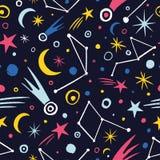 Hand getrokken colorfull ruimte naadloos patroon royalty-vrije illustratie