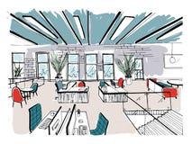 Hand getrokken coworking cluster Modern bureaubinnenland, open plek werkruimte met computers, laptops, verlichting en plaats royalty-vrije illustratie
