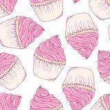 Hand getrokken cupcake naadloos patroon Stock Afbeeldingen