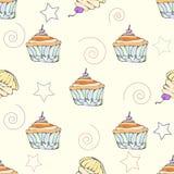 Hand getrokken cupcake naadloos patroon Stock Afbeelding