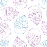 Hand getrokken cupcake naadloos patroon Het dessertachtergrond van de overzichtskrabbel royalty-vrije illustratie