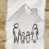 Hand getrokken 3d huis met familiepictogram Stock Afbeelding