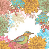 Hand getrokken dahliabloemen en vogel retro kaart Royalty-vrije Stock Afbeelding