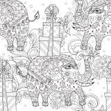 Hand getrokken de olifantskrabbel van het overzichtscircus Royalty-vrije Stock Fotografie