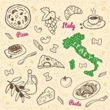 Hand getrokken de symbolen en het voedselreeks van Italië Stock Illustratie
