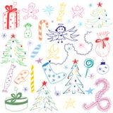 Hand Getrokken de Vakantie Kleurrijke Symbolen van de Krabbelwinter Kinderentekeningen van Sparren, Giften, Kaars, Snoepjes, Enge Royalty-vrije Stock Fotografie