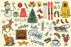 Hand getrokken de winter en Kerstmispictogrammen stock illustratie