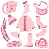Hand Getrokken de Winterkleren en Handtassen Betoverend mooie Roze schoenen op hoge hiel, sjaal, vuisthandschoen, handschoen en b vector illustratie
