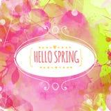 Hand getrokken decoratief ellipskader met de tekst hello lente Verse roze en groene achtergrond met verftextuur en bladerensporen Stock Afbeelding