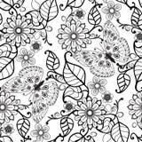 Hand getrokken Decoratief patroon met bloemenornamentbloemen en stock illustratie