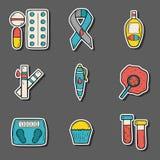 Hand getrokken diabetesstickers Stock Afbeeldingen