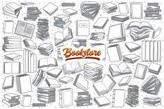 Hand getrokken die boekhandel met het van letters voorzien wordt geplaatst Stock Foto