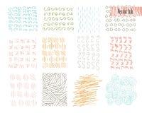 Hand Getrokken die Hipster-Texturen met Inkt worden gemaakt Retro patronen voor Affiches, Vliegers en Bannerontwerpen Vectorborst Stock Foto's