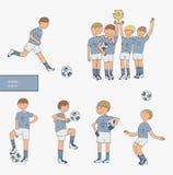 Hand getrokken die illustratie met voetballers, op witte achtergrond worden geïsoleerd Voetbalmateriaal, gelukkig winnend team, o Royalty-vrije Stock Foto's