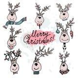 Hand getrokken die Kerstmisherten op een witte achtergrond worden geplaatst Vectorillu Stock Afbeeldingen