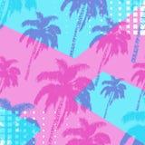 Hand getrokken die palmenpatroon op abstracte geometrische achtergrond wordt geïsoleerd Zes verschillende bellen voor verschillen royalty-vrije stock fotografie
