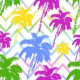 Hand getrokken die palmenpatroon op abstracte geometrische achtergrond wordt geïsoleerd Zes verschillende bellen voor verschillen stock afbeelding