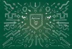 Hand getrokken die pijlpictogrammen op groen schoolbord worden geplaatst Stock Foto