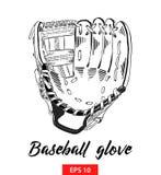Hand getrokken die schets van honkbalhandschoen in zwarte op witte achtergrond wordt geïsoleerd De gedetailleerde uitstekende tek vector illustratie
