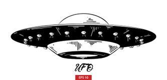 Hand getrokken die schets van ufo in zwarte op witte achtergrond wordt geïsoleerd De gedetailleerde uitstekende tekening van de e vector illustratie