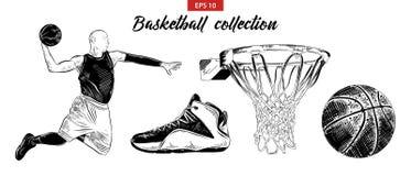 Hand getrokken die schetsreeks van basketbalspeler, schoen, bal en mand op witte achtergrond wordt geïsoleerd Gedetailleerde uits royalty-vrije illustratie