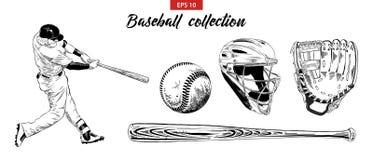 Hand getrokken die schetsreeks van honkbalspeler, helm, handschoen, bal en knuppel op witte achtergrond wordt geïsoleerd Gedetail vector illustratie