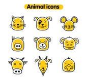 Hand getrokken dierlijke illustratie - vectorpictogrammen Stock Foto