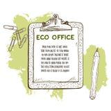 Hand getrokken document stootkussen met blad van document, houten potlood en bos van klemmen vector illustratie