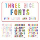 Hand Getrokken Doopvontreeks. Handschriftalfabet. ABC met Cijfers Stock Foto