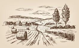 Hand getrokken dorp royalty-vrije illustratie